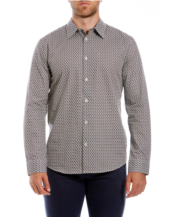1cfe42c9aa4f Long-Sleeve Parquet Geo Print Shirt - Off White