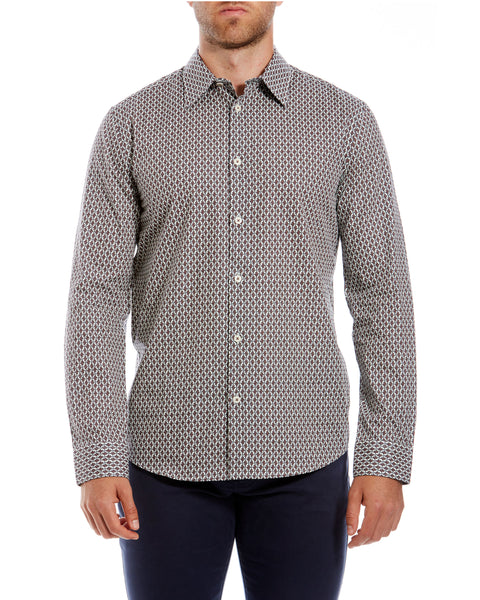 Long-Sleeve Parquet Geo Print Shirt - Off White