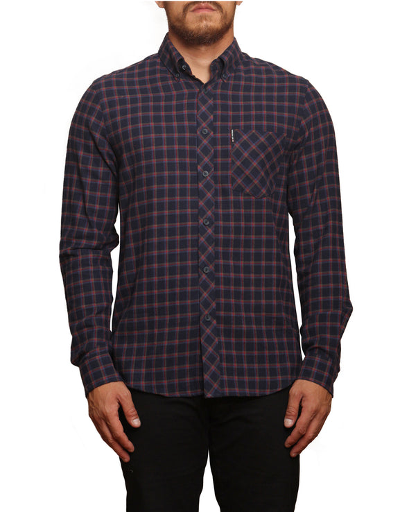 Long-Sleeve Reverse Twill Check Shirt - Dark Navy