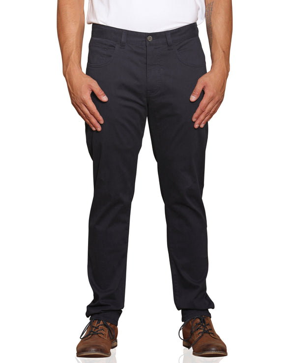 Stretch Sateen Five-Pocket Pant - Dark Navy