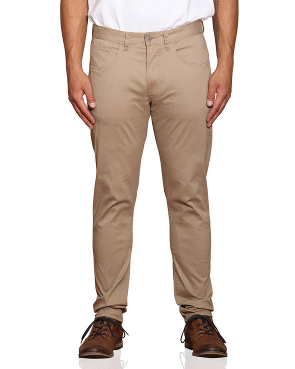 Stretch Sateen Five-Pocket Pant - Stone