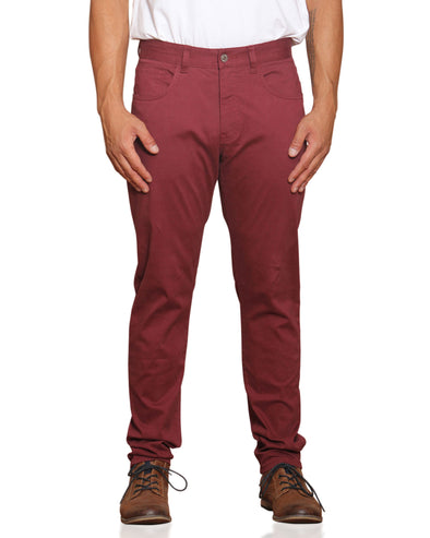 Stretch Sateen Five-Pocket Pant - Tawny Port