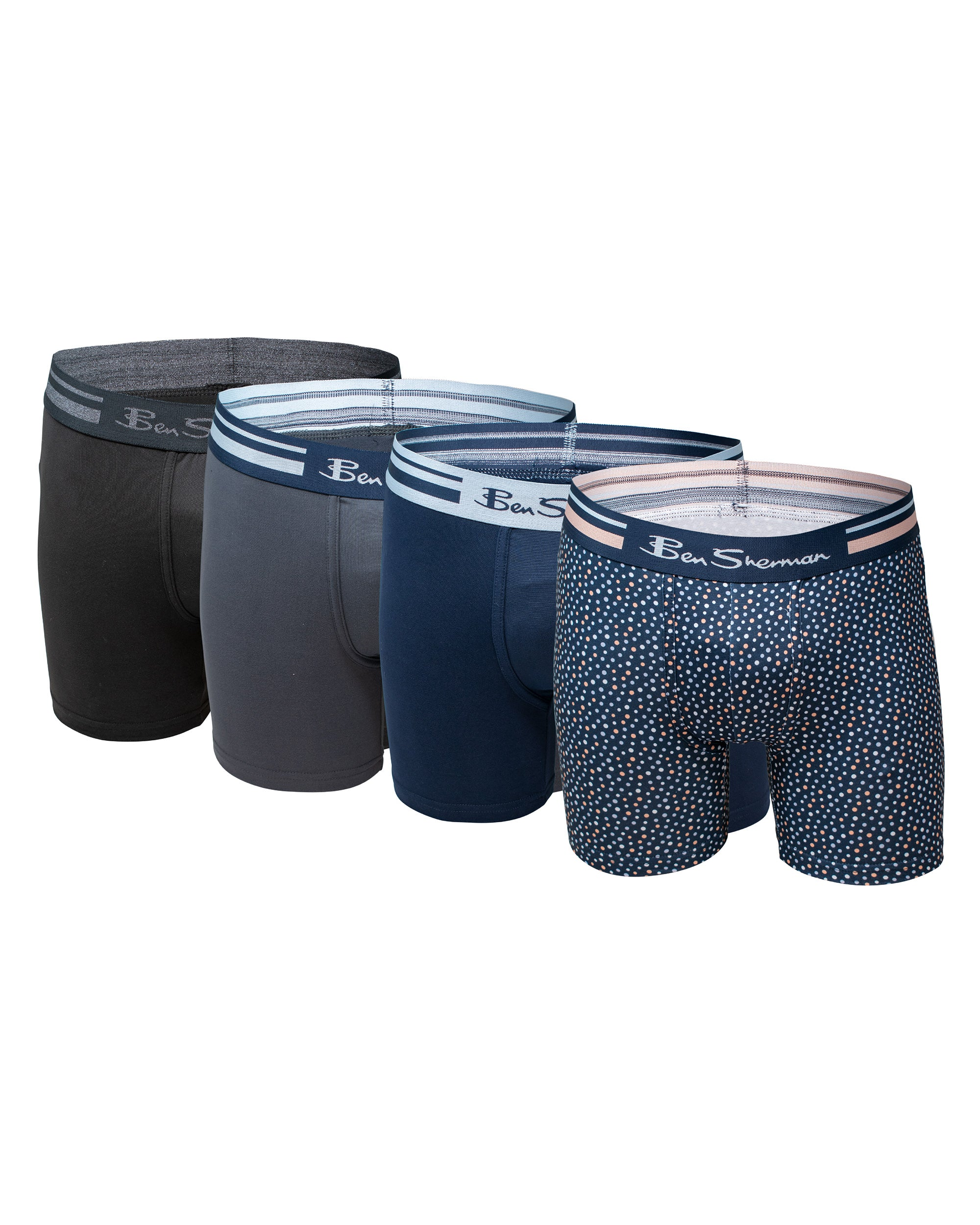 Men's 4-Pack Microfiber Print & Solid No-Fly Boxer Briefs - Multi