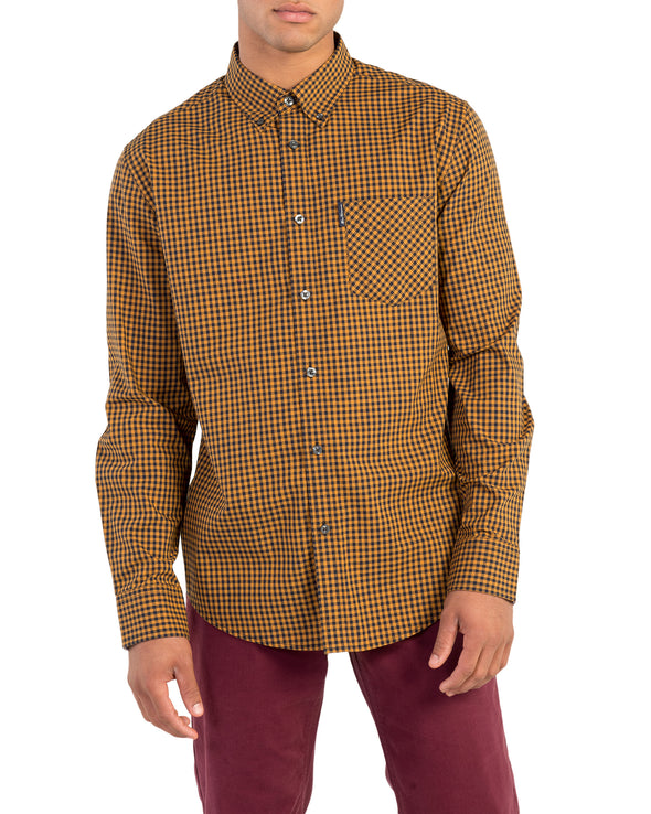 Long-Sleeve Classic Gingham Shirt - Mustard
