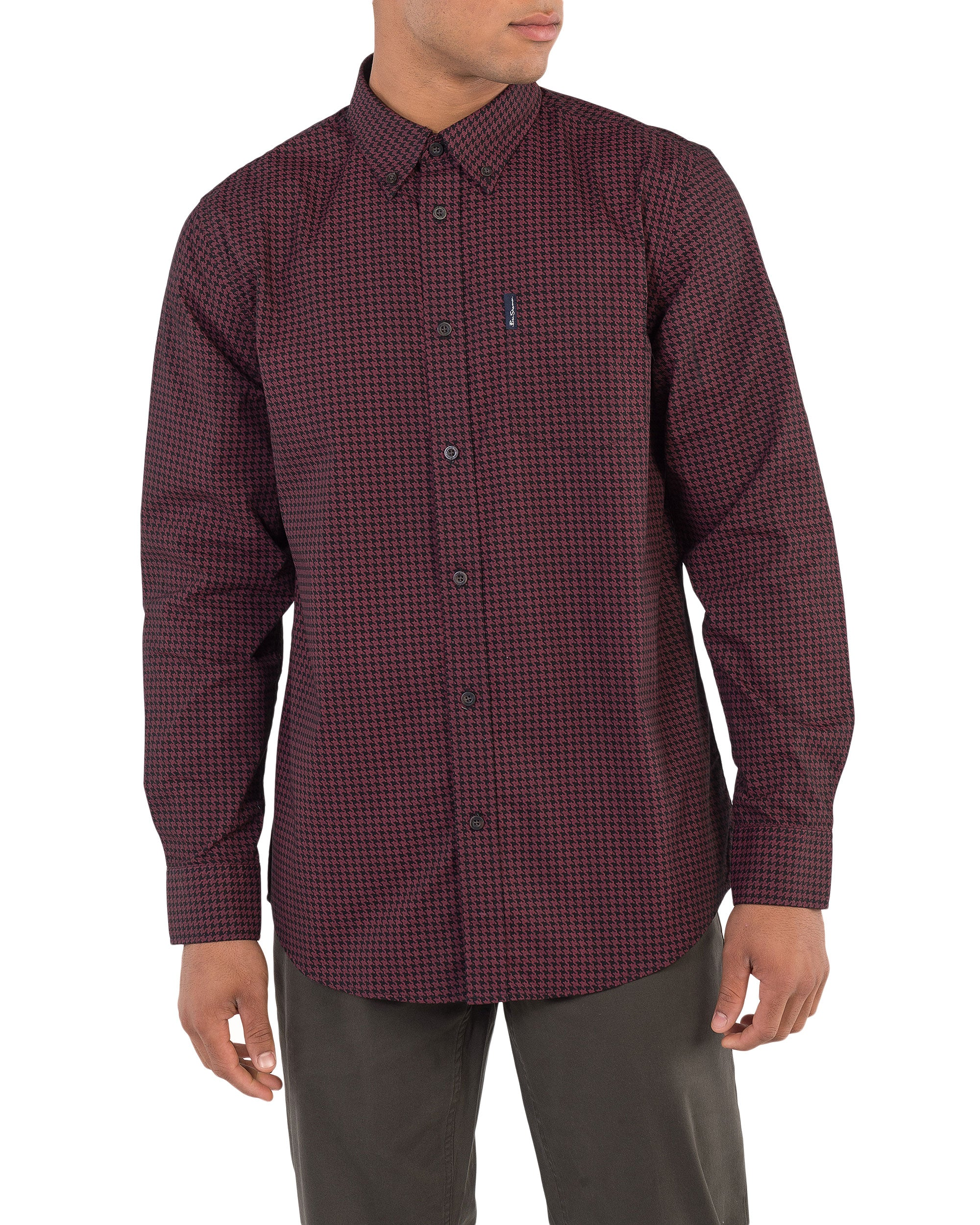 Long-Sleeve Dogtooth Print Shirt - Ruby