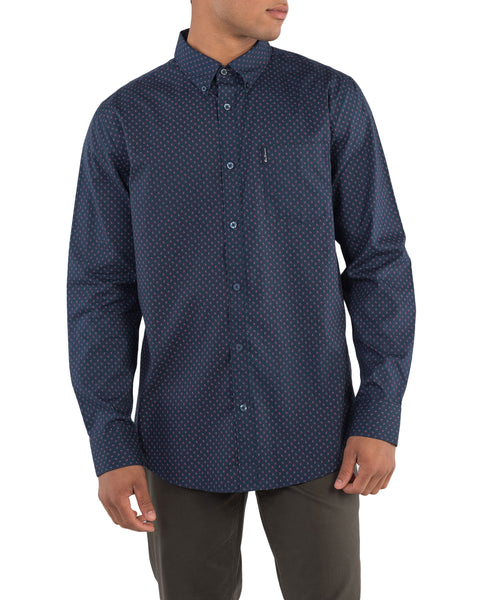 Long-Sleeve Two-Color Geo Print Shirt - Navy Blazer