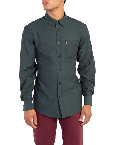Long-Sleeve Switch Twill Shirt - Dark Green