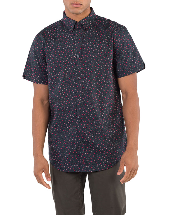 Short-Sleeve Shadow Spot Print Shirt - Black