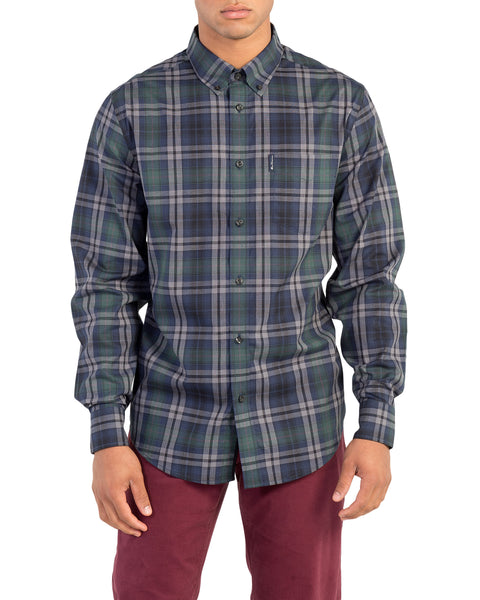 Long-Sleeve Placed End On End Shirt - Dark Green