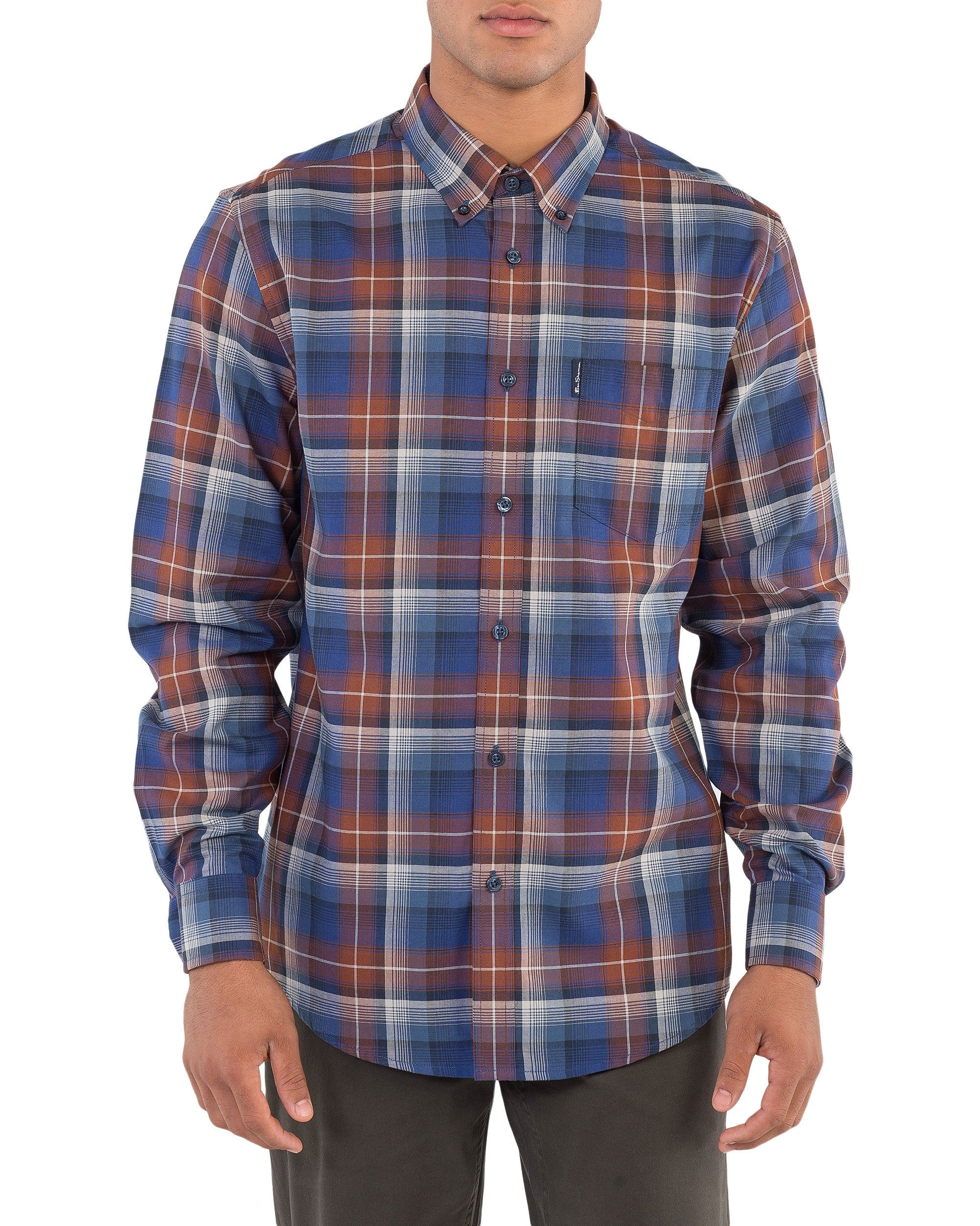 Long-Sleeve Ombre Check Shirt - Coffee