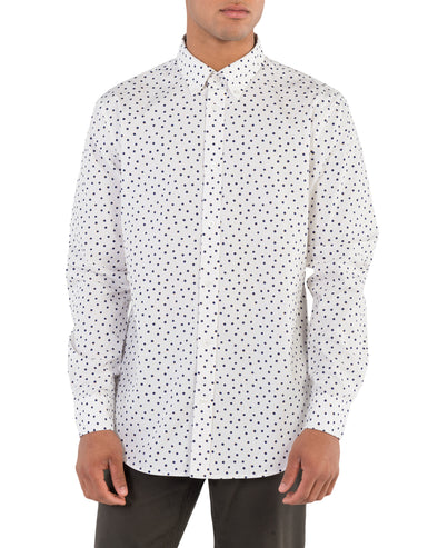 Long-Sleeve Shadow Spot Print Shirt - Snow White