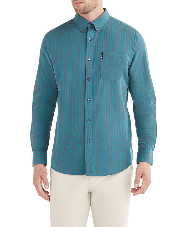 Long-Sleeve Classic Gingham Shirt - Forest Green