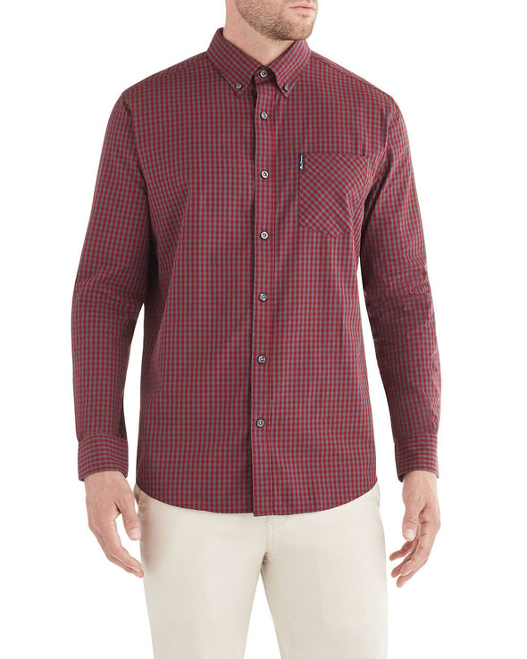 Long-Sleeve Classic Gingham Shirt - Tawny Port