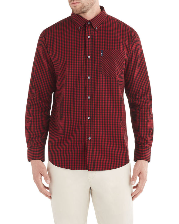 Long-Sleeve Classic Gingham Shirt - Red