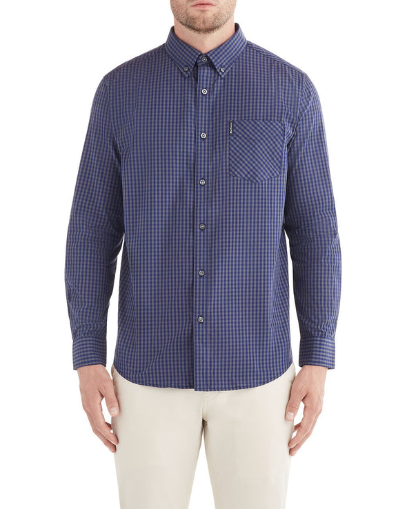 Long-Sleeve Classic Gingham Shirt - Astral Aura