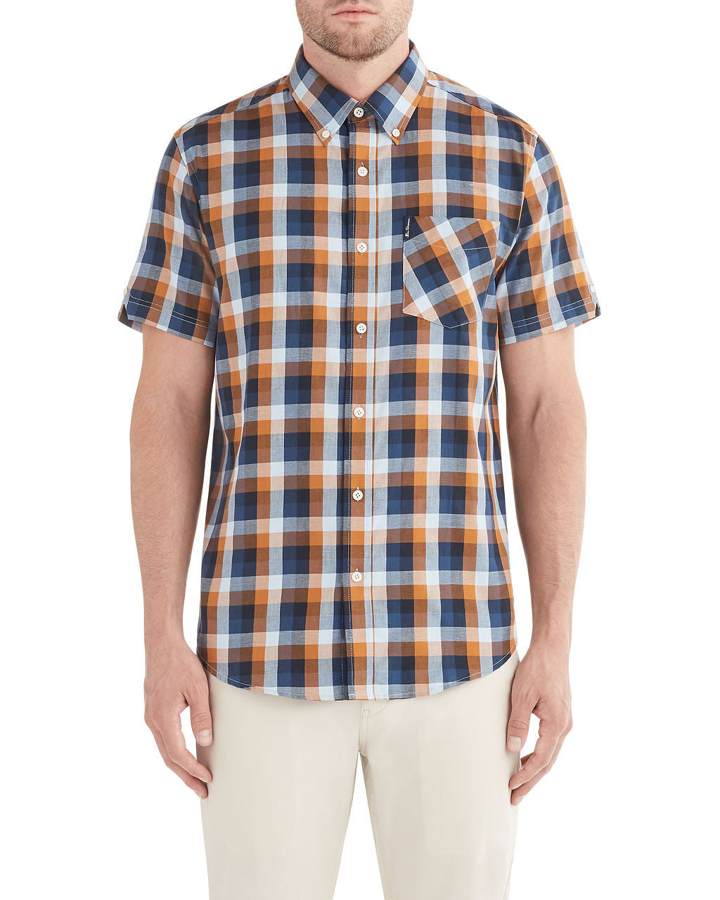 Short-Sleeve Diamond Twill Check Shirt - Mustard