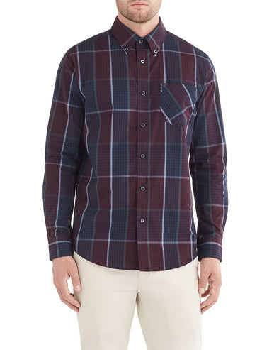 Long-Sleeve Window Gingham Shirt - Wine