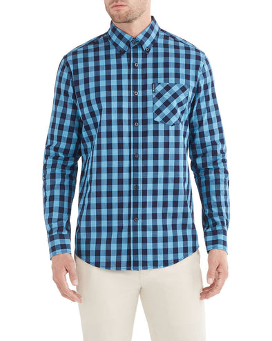 Long-Sleeve End on End Check Shirt - Marine