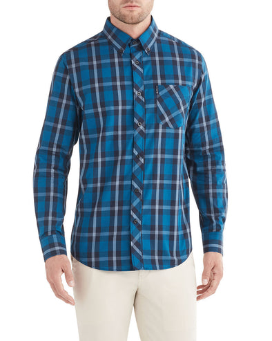 Long-Sleeve Traditional Plaid Shirt - Lake Blue