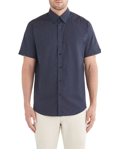 Short-Sleeve Spot Squares Print Shirt - Navy