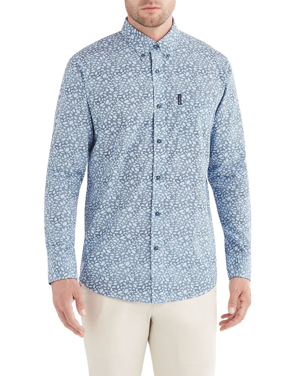 Long-Sleeve Leaves Over Gingham Shirt - Light Blue