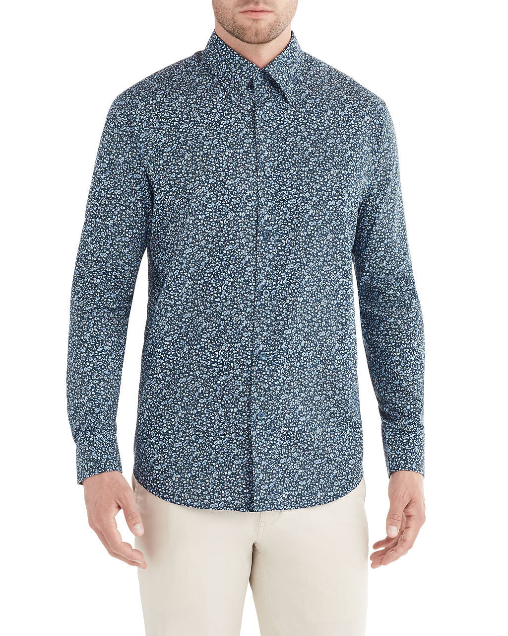Long-Sleeve Tonal Floral Print Shirt - Navy