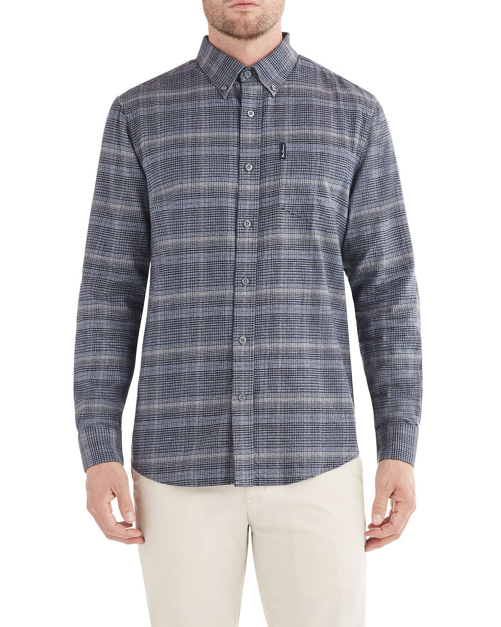 Long-Sleeve Herringbone Mini Check Shirt - Blue Grey