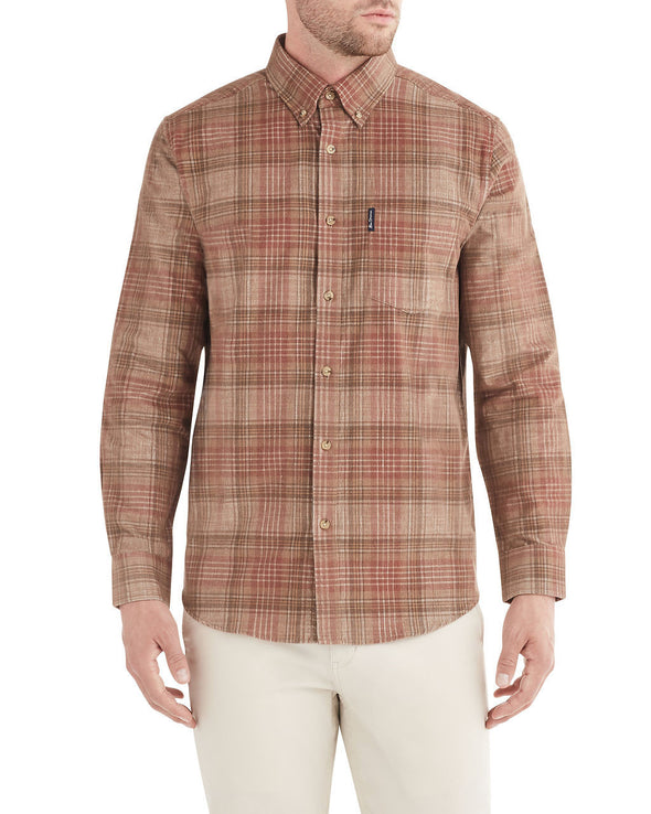 Long-Sleeve Tonal Cord Plaid Shirt - Terra Cotta
