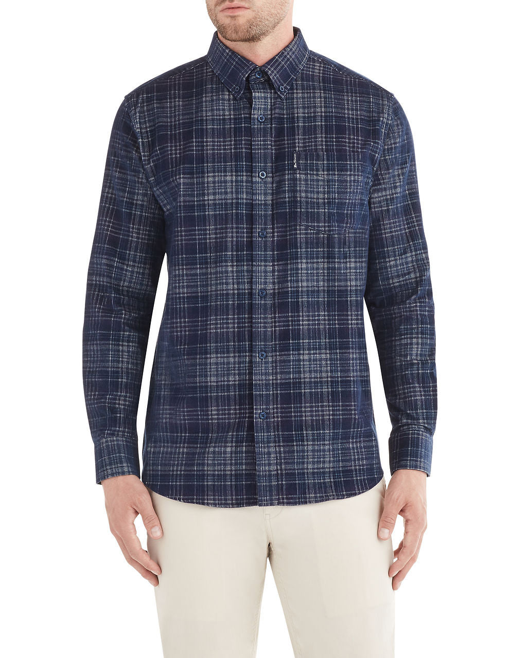 Long-Sleeve Cord Plaid Shirt - Navy