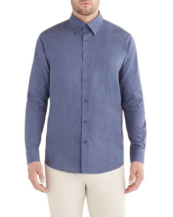 Long-Sleeve Clipped X Dobby Shirt - Indigo