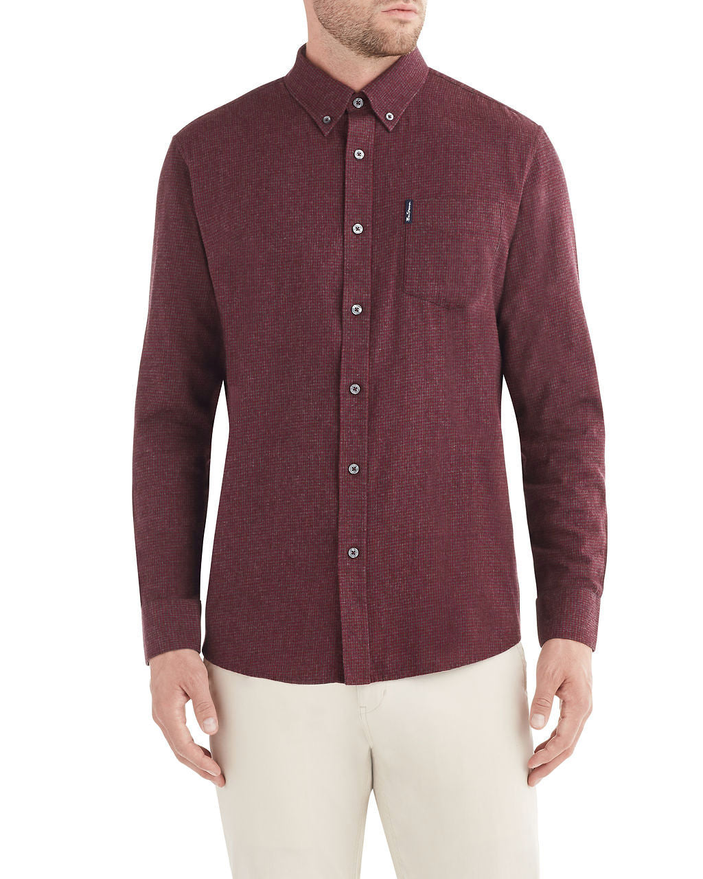 Long-Sleeve Brushed Dogtooth Shirt - Wine