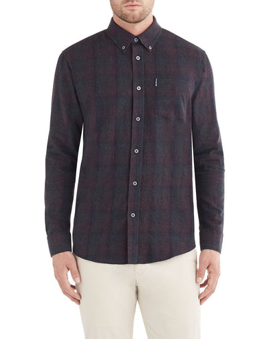 Long-Sleeve Brushed Tonal Plaid Shirt - Wine