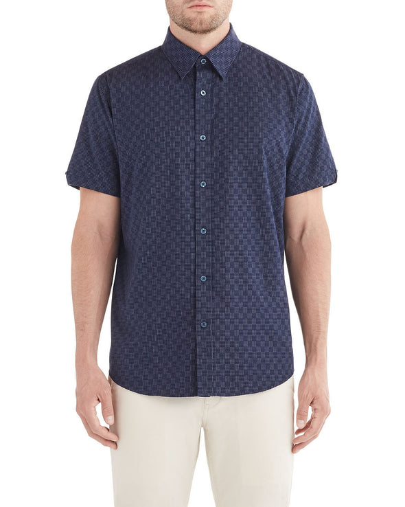 Short-Sleeve Dash Dot Checkerboard Shirt - Midnight