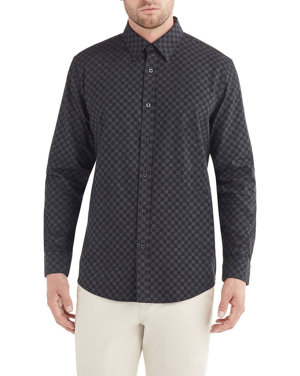 Long-Sleeve Dash Dot Checkerboard Shirt - Black