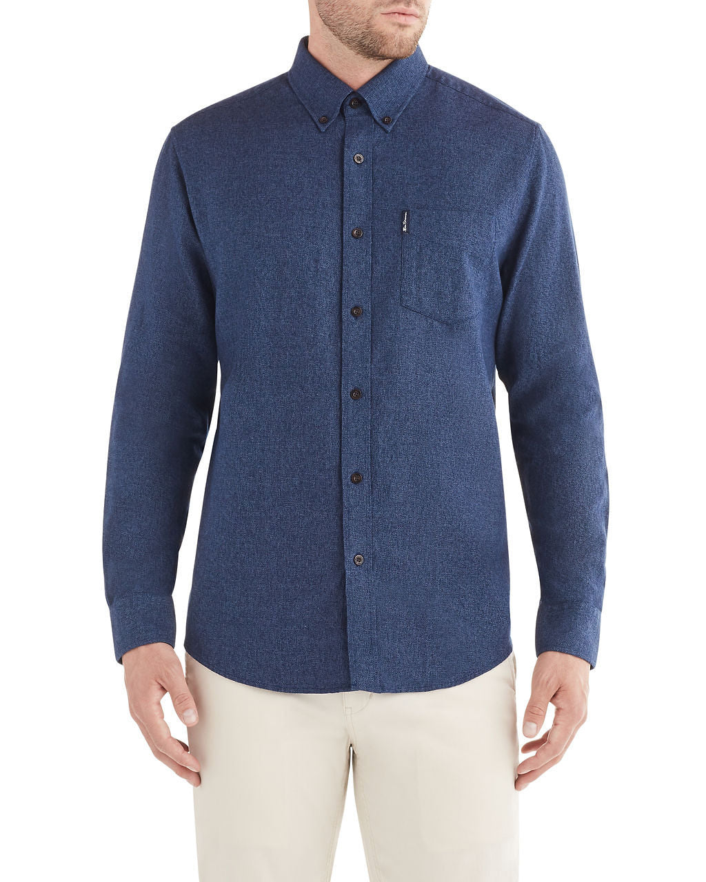 Long-Sleeve Twisted Brushed Shirt - Navy