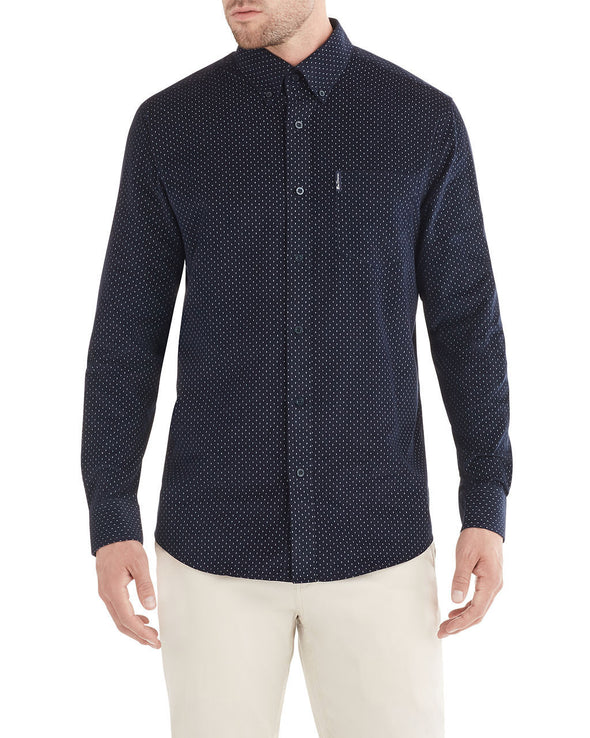 Long-Sleeve Geo Print Cord Shirt - Ink