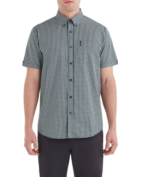 Short-Sleeve Classic Gingham Shirt - Sea