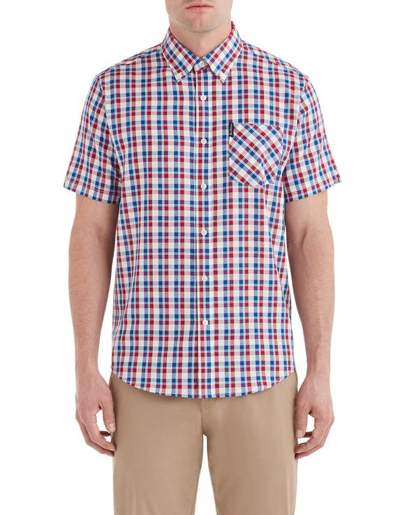 Short-Sleeve Oxford Check Shirt - Ruby