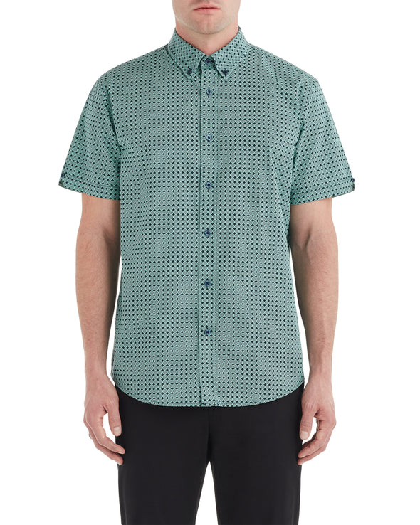 Short-Sleeve Checkerboard Print Shirt - Mint