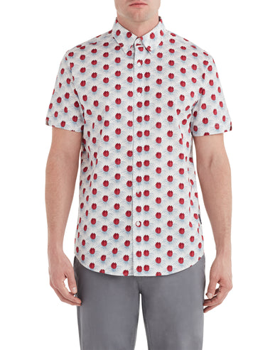 Short-Sleeve Floral Check Print Shirt - Snow White