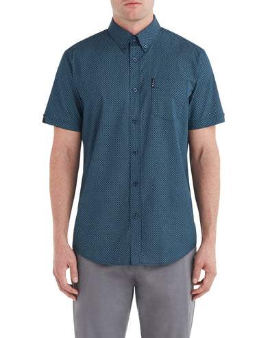 Short-Sleeve Micro Paisley Shirt - Dark Navy