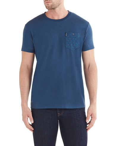 Dot Stripe Pocket Print Styled T-Shirt - Navy