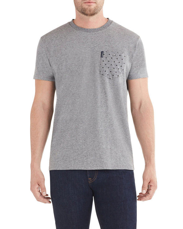 Dot Stripe Pocket Print Styled T-Shirt - Grey