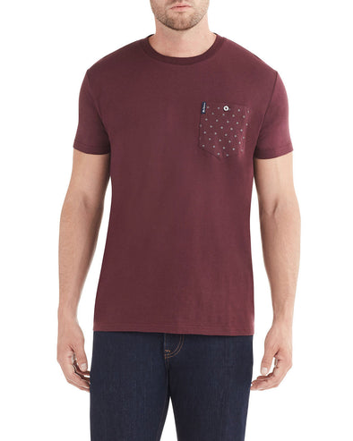 Dot Stripe Pocket Print Styled T-Shirt - Wine