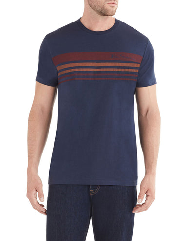 Ombre Stripe Print Styled T-Shirt - Navy
