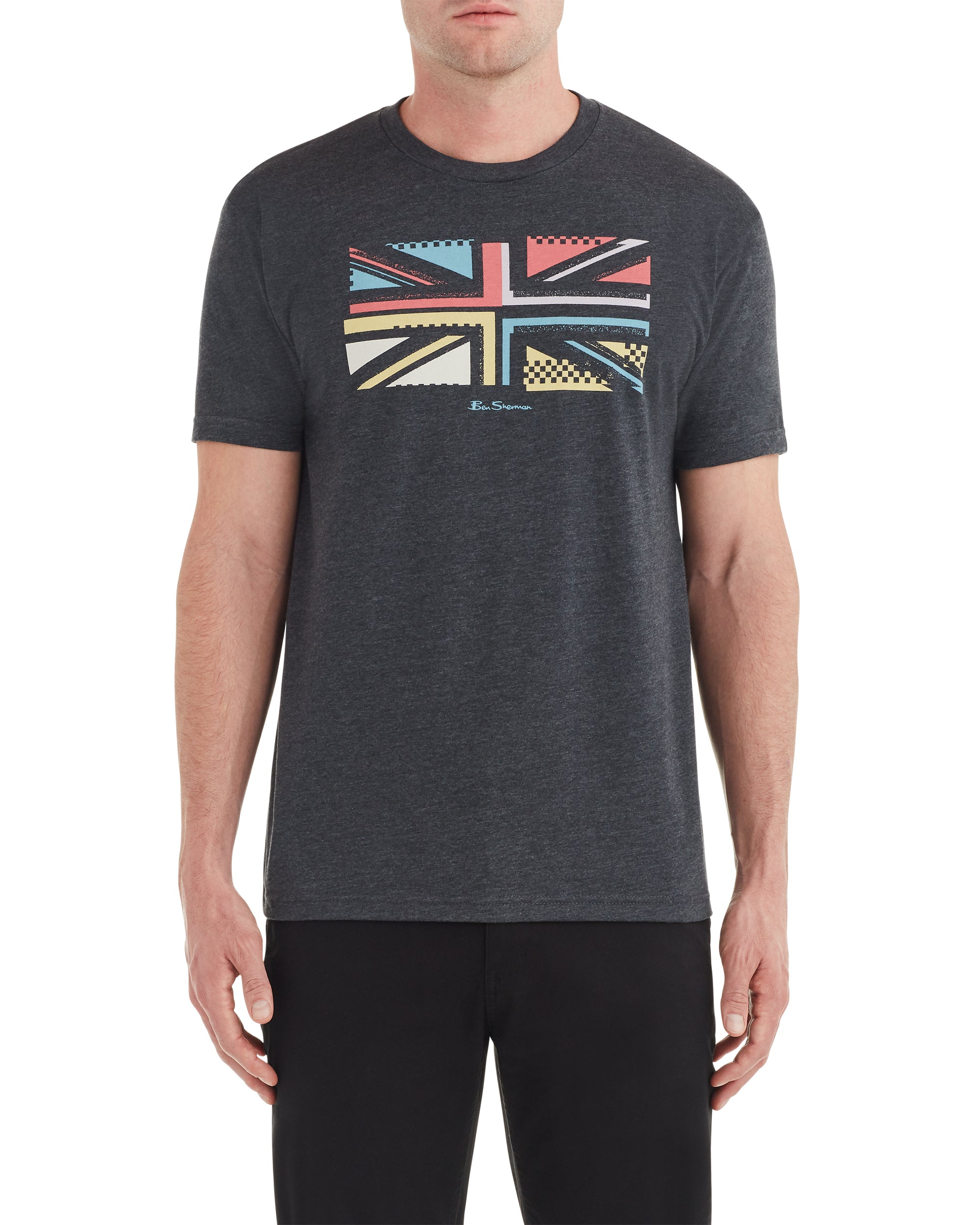 Union Jack Slice Graphic Tee - Charcoal Heather