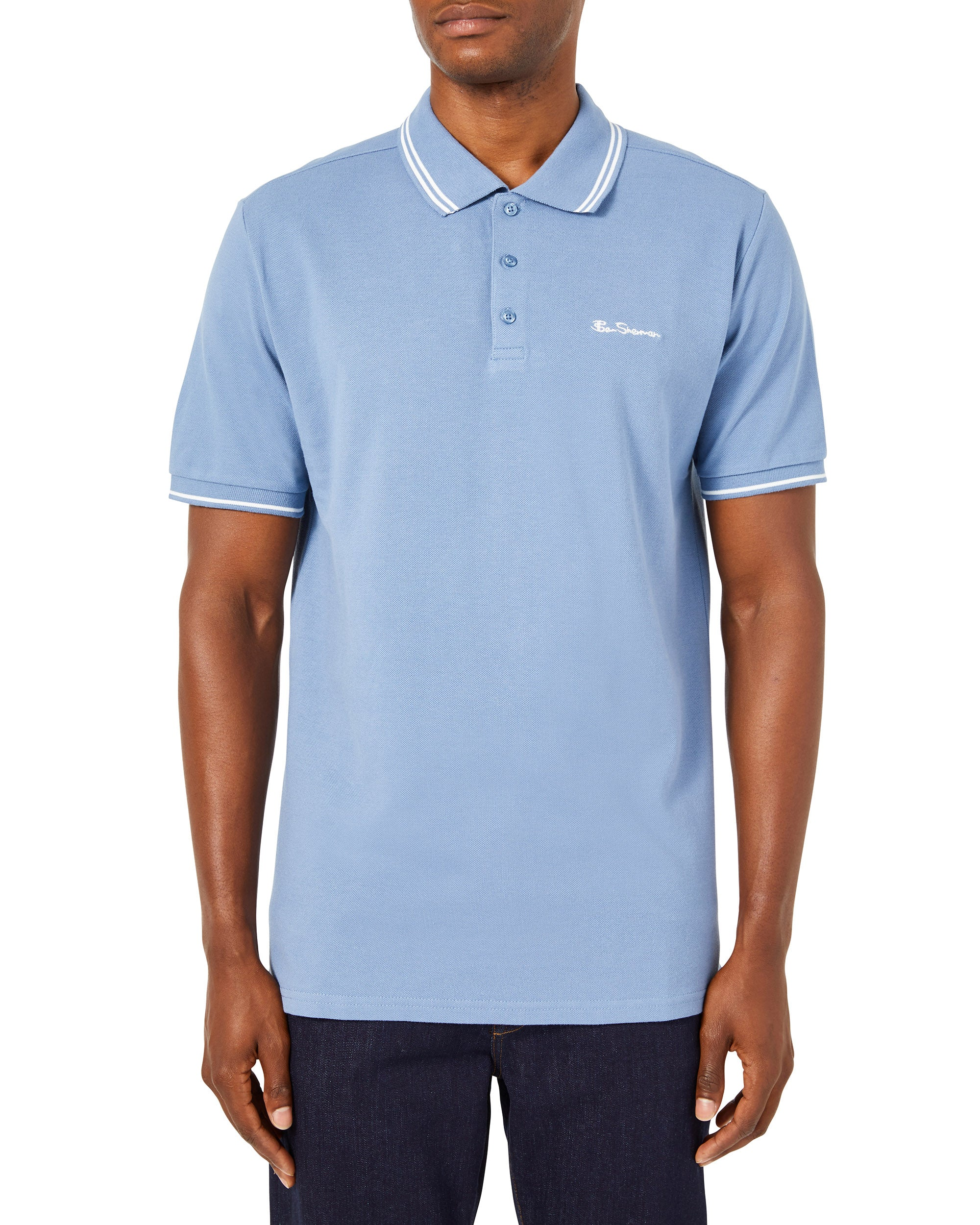 Script Tipped Pique Polo Shirt - Light Blue/White