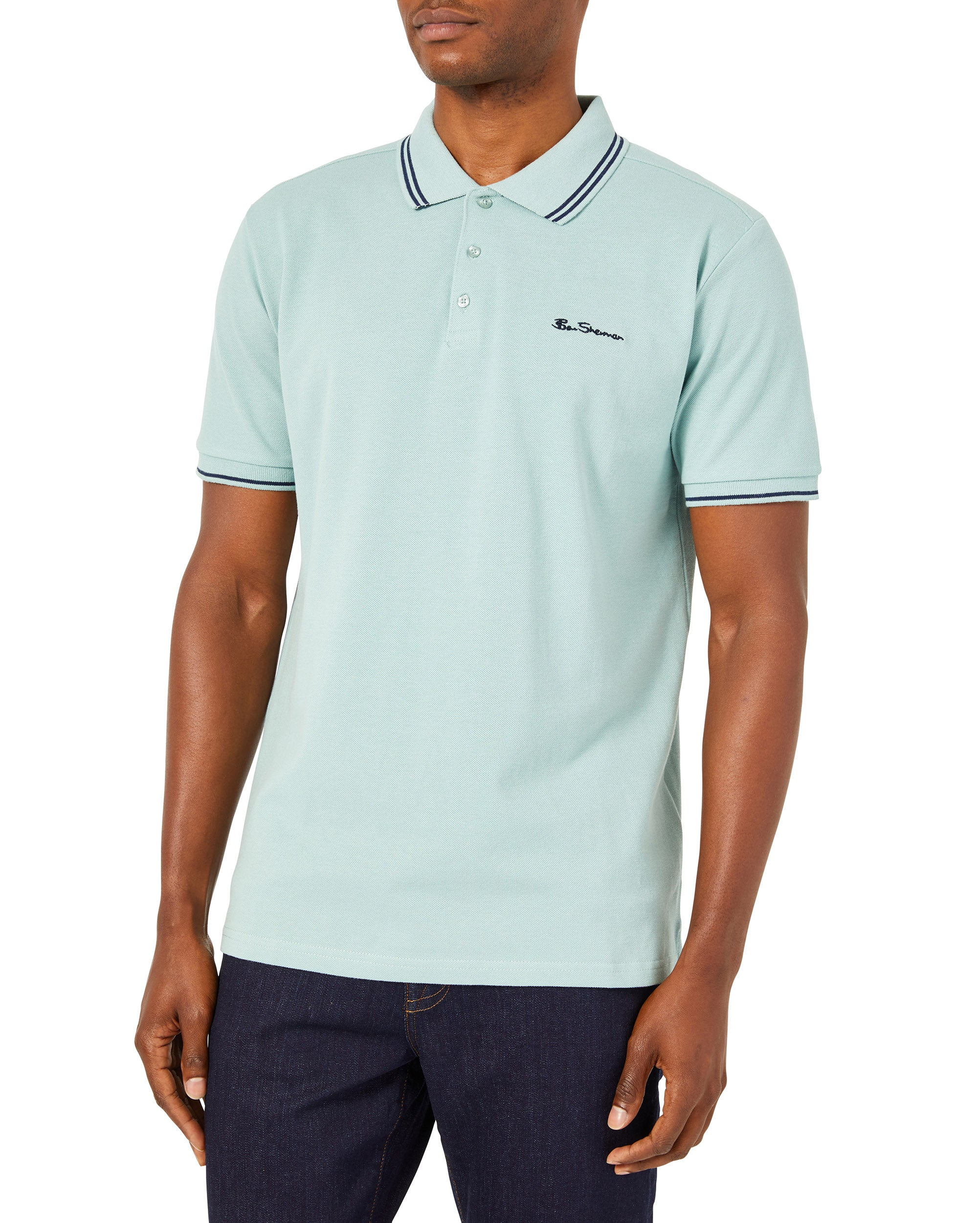 Script Tipped Pique Polo Shirt - Mint/Navy