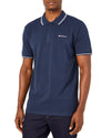 Script Tipped Pique Polo Shirt - Navy/White
