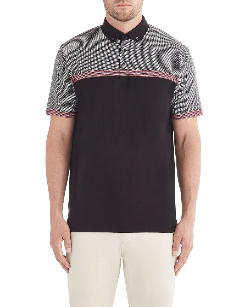 Engineered Jacquard Polo Shirt - Black